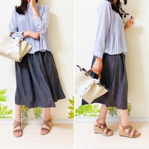 【UNIQLO】くすみカラーが「ツボ」♪夏も活躍するドレープギャザースカート