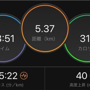 8月19日水曜日 テレワーク前のショートジョグ1kmだけTペース