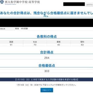 【西大和学園 東海会場入試2020年1月8日 結果発表!】
