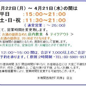 3月22日(月)~ 4月21日(水)間の営業に関するご連絡です。