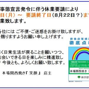 ~ 臨時休業のお知らせ~ あと三日間、7月11日(日)までは、張り切って営業します。