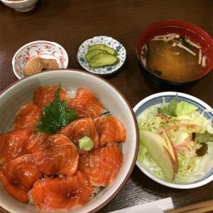 長野旅行 お食事処 かわせみ サーモン漬け丼とソースカツ丼(2018年)