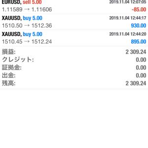 本日の取引 2019年11月4日 GOLDで24万利益!!