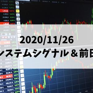日経225先物システムトレード 2020/11/26 夜間システムシグナル&前日結果
