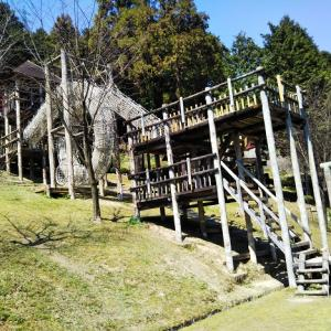 西条市 市民の森 冒険広場の楽しい遊具 芝滑り