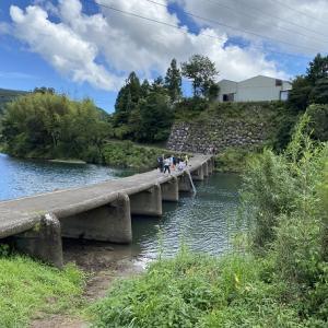 一斗俵沈下橋で飛び込み 米の川城ハナ公園で川遊び 四万十川 四万十町