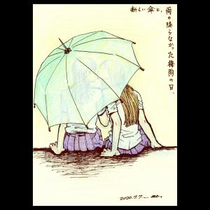 新しい傘と,雨の降らなかった梅雨の日.
