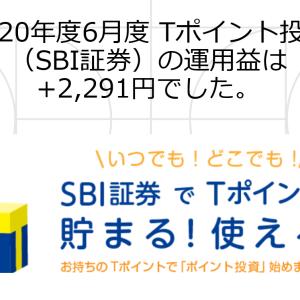 2020年度6月度 Tポイント投資(SBI証券)の運用益は+2,291円でした。