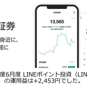 2020年度6月度 LINEポイント投資(LINE証券)の運用益は+2,453円でした。