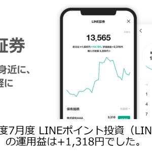 2020年度7月度 LINEポイント投資(LINE証券)の運用益は+1,318円でした。