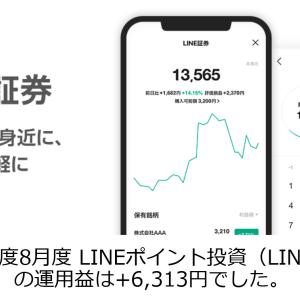 2020年度8月度 LINEポイント投資(LINE証券)の運用益は+6,313円でした。