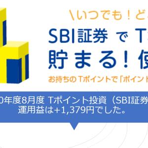 2020年8月度 Tポイント投資(SBI証券)の運用益は+1,379円でした。