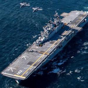 揚陸艦USSアメリカ/LHA 6と空自F-35Aとの共同訓練