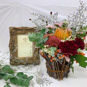 秋のお花でシャンペトルアレンジ♬自然の恵みをお裾分けいただきました