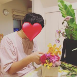 敬老の日のお花を息子くんが作ってくれました♬花育時間が今もくれるギフトタイム♬