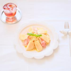桃の冷たいパスタ