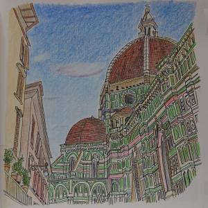 大人のスケッチ塗り絵7  フィレンツェのサンタ・マリア・デル・フィオーレ大聖堂