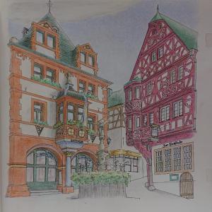 大人のスケッチ塗り絵25 ベルンカステル・クースの広場