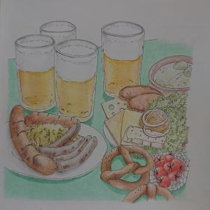大人のスケッチ塗り絵28 ビールとソーセージの食卓