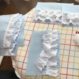 ウエストゴムのベルトを縫い付けました!