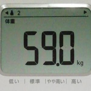 2020年1月10日 59日目 また振だしへ戻った体重・・・。