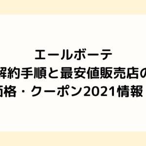 エールボーテ解約手順と最安値販売店の価格・クーポン2021情報!