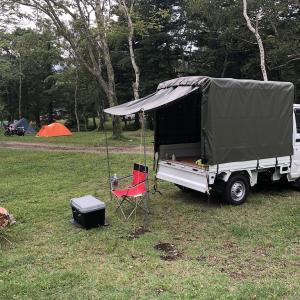 軽トラの荷台で快適キャンプ&戸隠神社と絶品そば