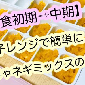 【離乳食】かぼちゃネギミックスの作り方!初期⇒中期への移行レシピ