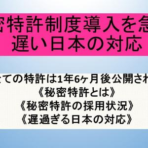 秘密特許制度導入を急げ、遅い日本の対応