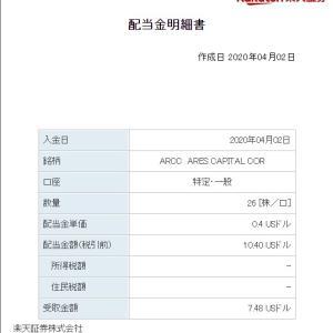 【配当金】ARCCから四半期配当の入金がありました。