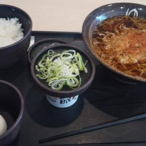 本格的な立ち食いそば屋で納豆朝食