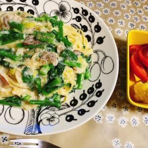 かき菜とポロネギのクリームパスタ
