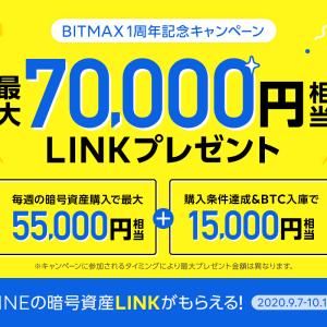 BITMAXで70,000円相当のLINKをGET!!