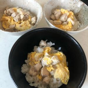 親子丼「鶏のダシをふんだんに使いました✨」鶏むね肉でヘルシーに(^_-)-☆