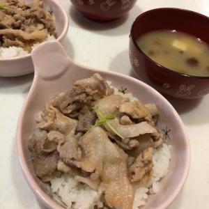 生姜焼き丼「朝からもりもりミニ丼🍚✨」おまけの悲劇(^◇^;)