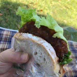 味噌カツバーガー「公園で夫婦でパンランチ♬」青空の下で食べるとおいしさ倍増(*^▽^*)✨