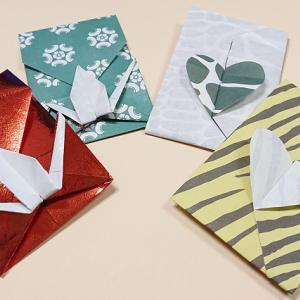 高齢者が喜ぶ季節の折り紙|鶴とハートのかわいいポチ袋の折り方