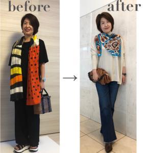 【Before→after】50代 骨格タイプナチュラル ストールやスカーフの使い方とコーデ事例