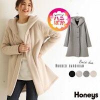 【Honeys】さっと羽織れて暖かい♡裏ボアフーデットカーデ( *´艸`)