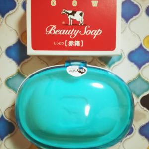 ダイソーのさりげなくオシャレなソープケースと、(100均じゃないけど)牛乳石鹸。