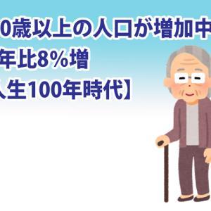 100歳以上が増えている!前年比8%増【人生100年時代】
