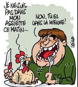 フランス語の慣用表現「自分の皿の中にいない⇒ 調子が悪い」