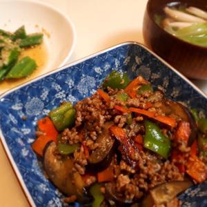 ひき肉と野菜の甘辛みそ炒め定食