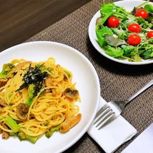 食感を楽しむ!ブロッコリーとマッシュルームの味噌モツパスタ (2019.11.25 自炊記録p.20)