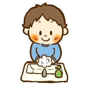 手を洗っている男の子/商用利用無料おたよりイラスト集