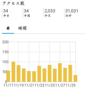 2020年11月のアクセス数(初2000突破&サブブログ初1000突破)