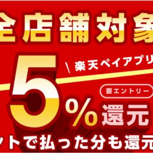 楽天ペイで全店舗ずっと5%還元になるキャンペーンが2020年1月1日から始まるよ!エントリー必須!