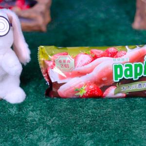 【パピコ 大人の濃厚ジェラート つぶつぶ苺】グリコ 1月13日(月)新発売、コンビニ アイス 食べてみた!【感想】