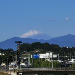 今朝の新横浜〜初冠雪した富士山と青い空と。