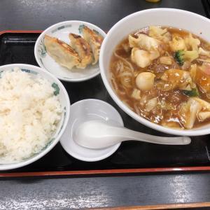 【溝の口】熱烈中華食堂 日高屋 五目あんかけラーメン&半餃子+ライス